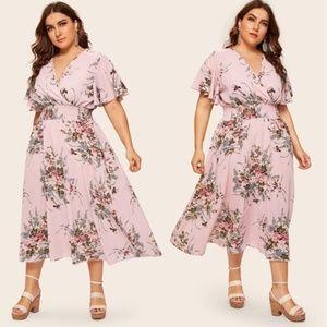 October Love Floral Dress - Plus Size (Pink)